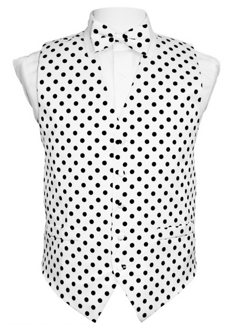 Vest Set Polka Dot - WHITE/BLACK