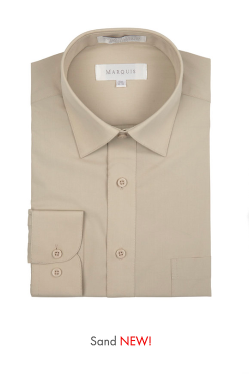 Marquis Solid Classic Fit Dress Shirt - SAND