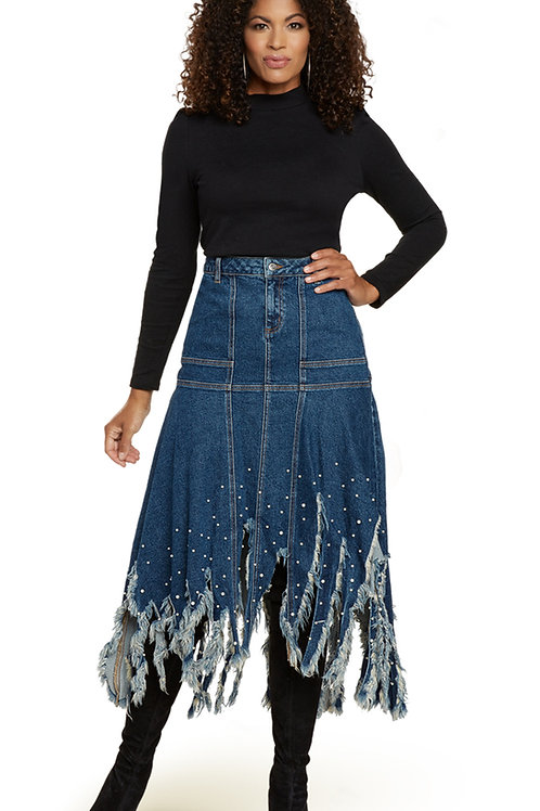 Donna Vinci #8443 1 Piece Denim Skirt