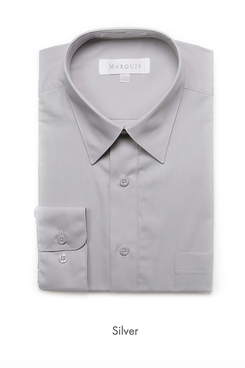 Marquis Solid Classic Fit Dress Shirt - SILVER