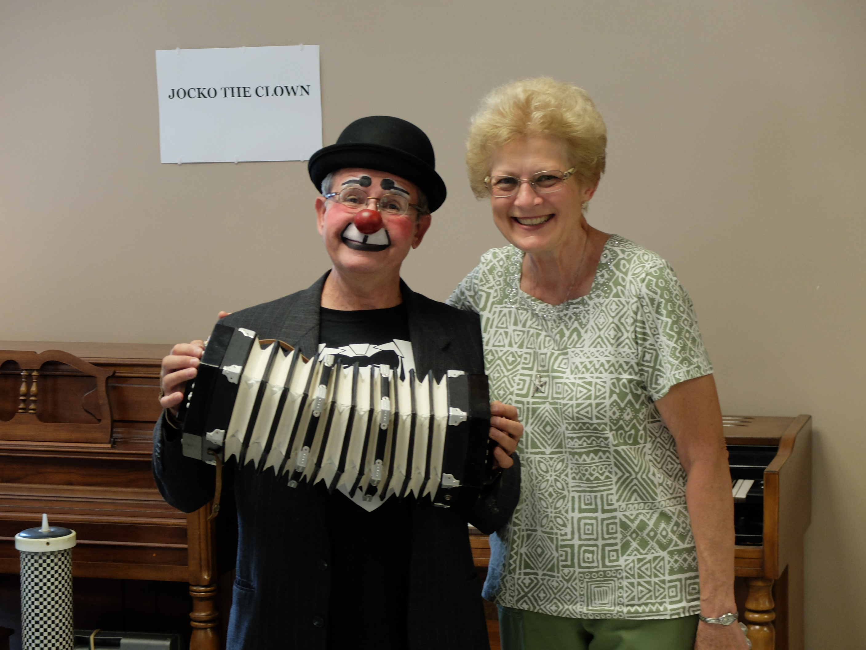 Marleen clowns around with Jocko.
