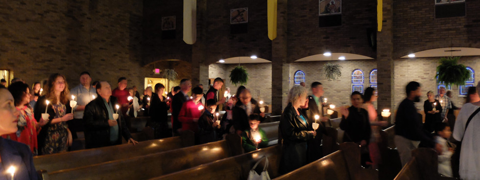 Candlelit Procession into Church