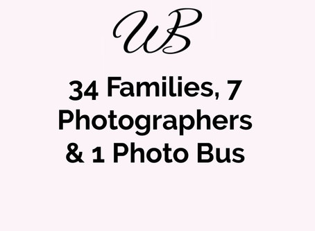 34 families, 7 photographers, and 1 photo bus...