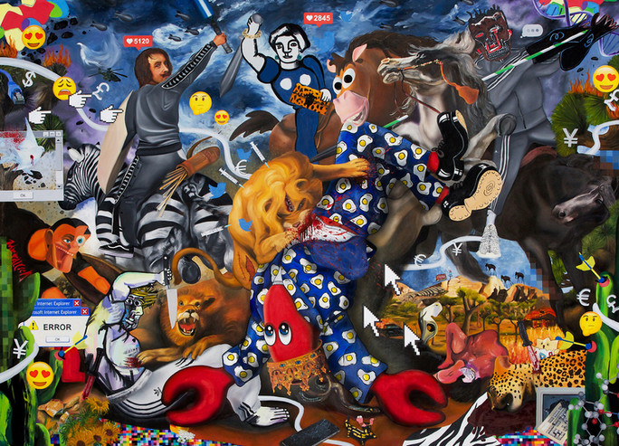 Hunt Paintings - Lion Hunt- wr-270x195mm