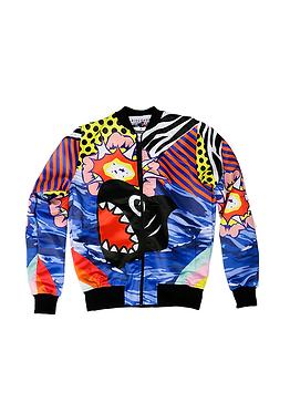 Shark Pop Printed Bomber Jacket