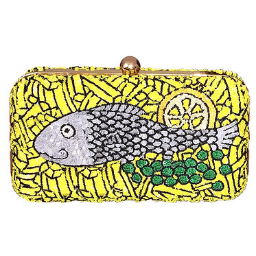 Fish and Chips Sequin Clutch