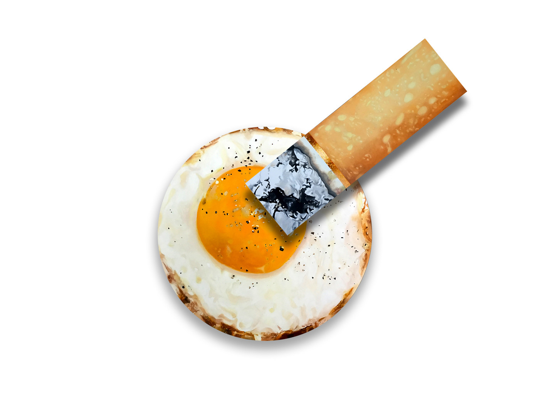 Fired Egg and Burnt Cigarette, 2017