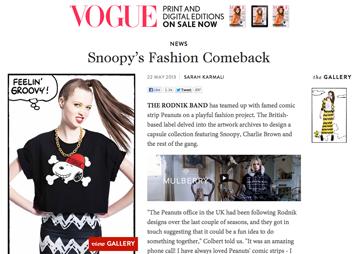 Vogue Rodnik x Peanuts Press
