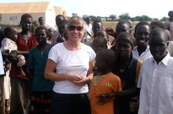 With village children, Sudan