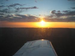 Airborne sunset, Northern California