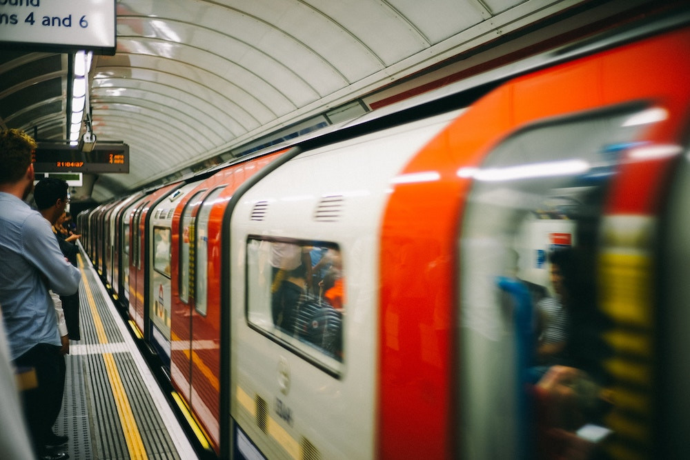London Underground train at station