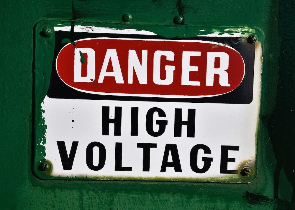 danger sign warning of high voltage