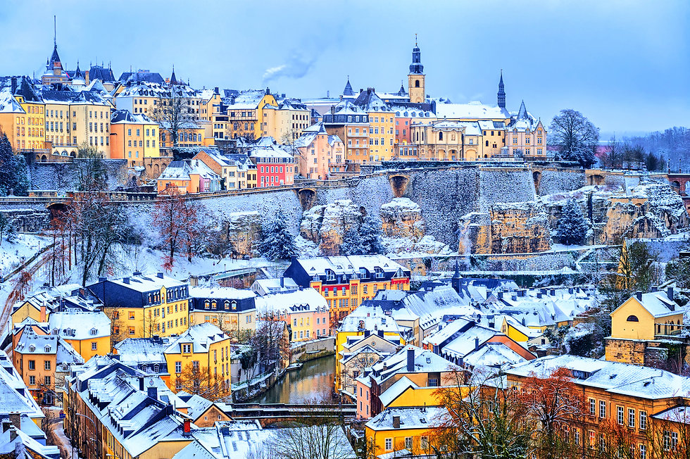 Old town of Luxembourg city snow white i