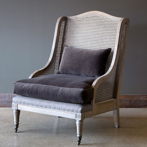 CANE BACK WING CHAIR