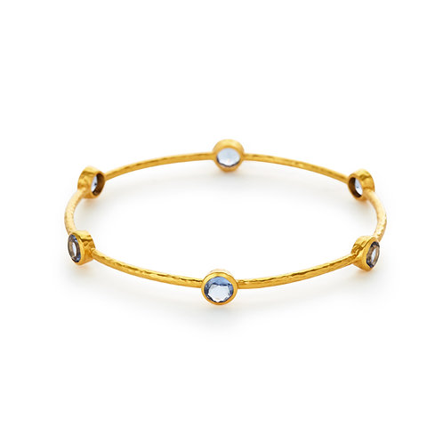Milano Bangle Gold Chalcedony Blue - Medium