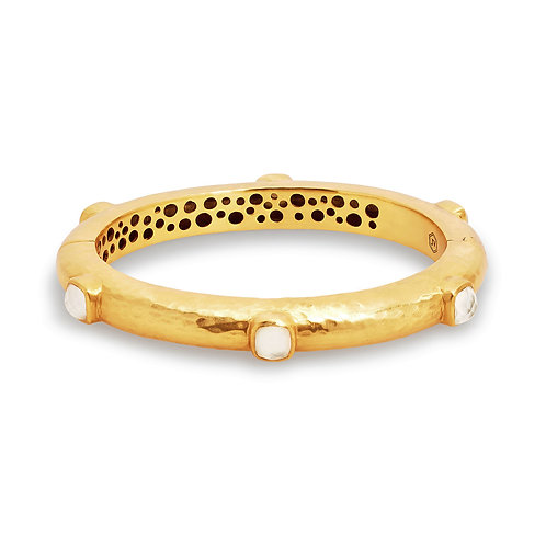 Catalina Hinge Bangle Gold Iridescent Clear Crystal - One Size