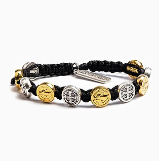 BENEDICTINE BRACELET MIXED METAL W/ BLACK CORDING