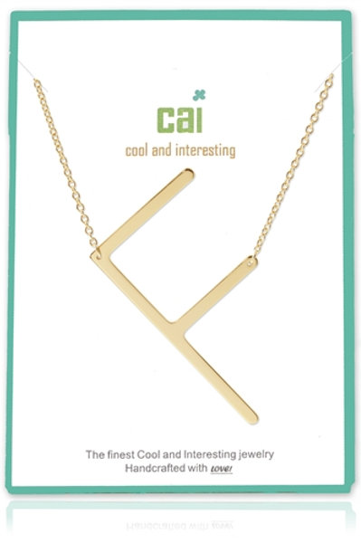 GOLD LARGE SIDEWAYS F NECKLACE