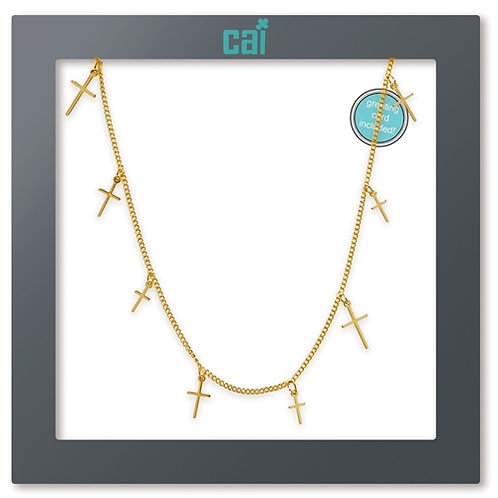 CROSS DAINTY CHARM NECKLACE GOLD
