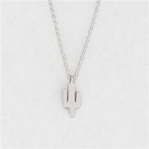 CACTUS CHARM NECKLACE - SILVER