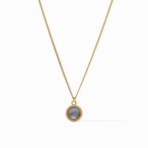 Fleur-de-Lis Solitaire Necklace Iridescent Slate Blue