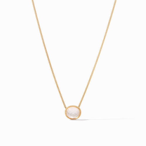 Verona Solitaire Necklace Gold Iridescent Clear Crystal
