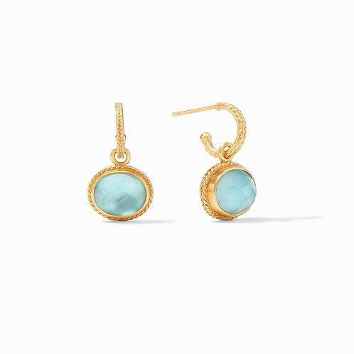 Calypso Hoop & Charm Earring Gold Iridescent Bahamian Blue