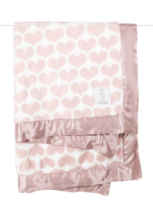 LITTLE GIRAFFE LUXE HEART ARMY BABY BLANKET -PINK