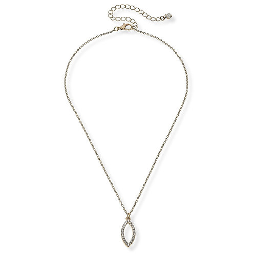 LILA PAVE DROP NECKLACE IN WORN GOLD