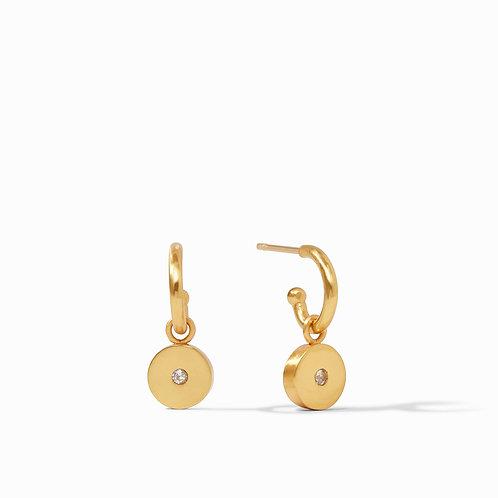 Poppy Hoop & Charm Earring Gold Cz