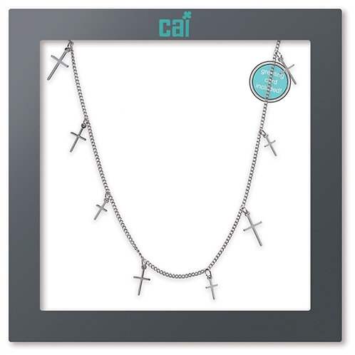 CROSS DAINTY CHARM NECKLACE SILVER