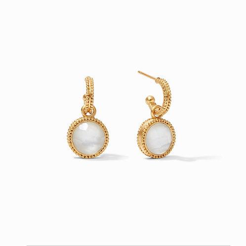 Fleur-de-Lis Hoop & Charm Earring Gold Iridescent Clear Crystal Reversible