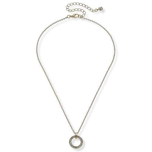VALENTINA PAVE NECKLACE IN WORN GOLD