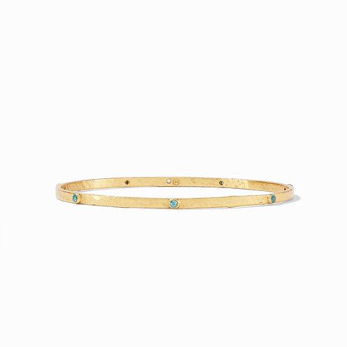 Crescent Bangle Gold Pacific Blue CZ Medium