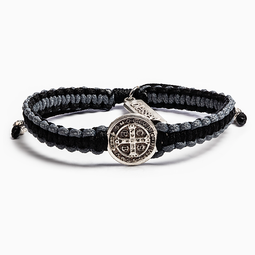 GRATITUDE BRACELET SILVER with BLK and Gray