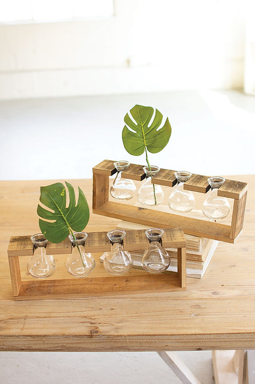 FOUR GLASS BUD VASE WITH WOOD STAND