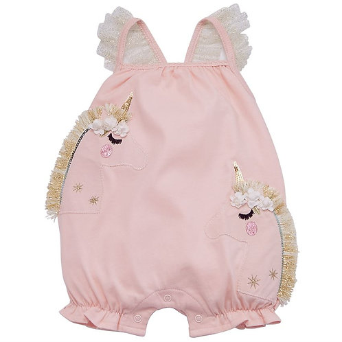 UNICORN FRINGE BUBBLE ROMPER