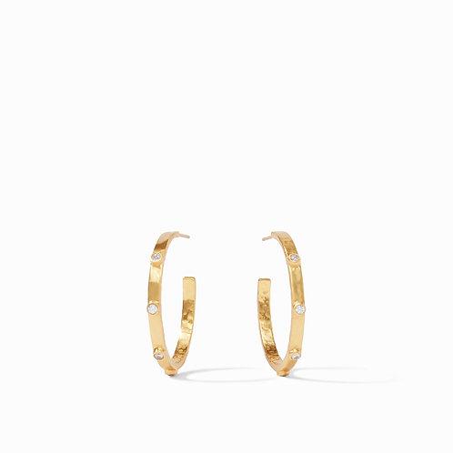 Crescent Stone Hoop Gold Cubic Zirconia Medium