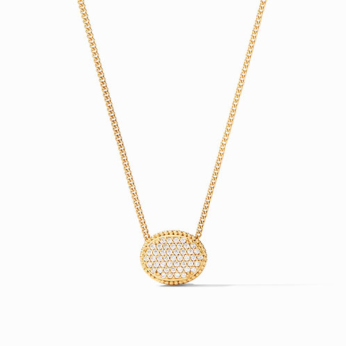 Verona Solitaire Necklace Gold Pave Cubic Zirconia