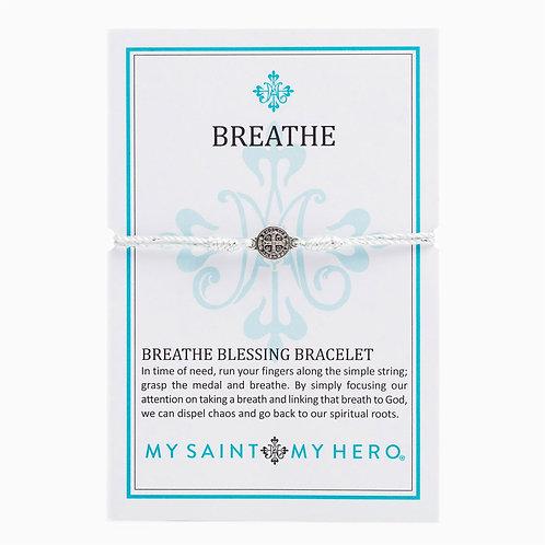 BREATHE BRACELET SILVER W/ WHITE CORDING