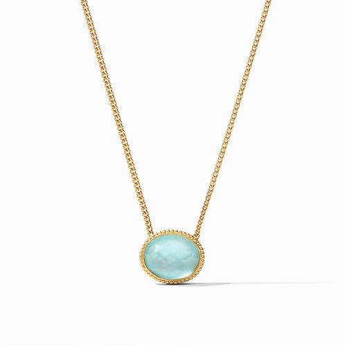 Verona Solitaire Necklace Gold Iridescent Bahamian Blue