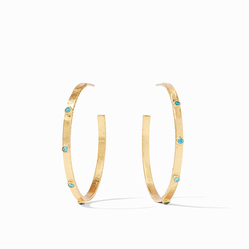 Crescent Stone Hoop Gold Pacific Blue CZ Large