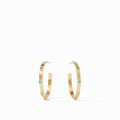 Crescent Stone Hoop Gold Pacific Blue CZ Medium
