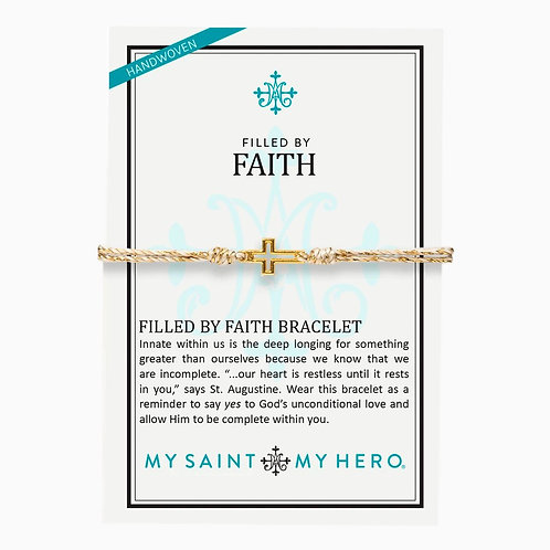 FILLED BY FAITH BRACELET GOLD W/ WHITE AND GOLD CORDING