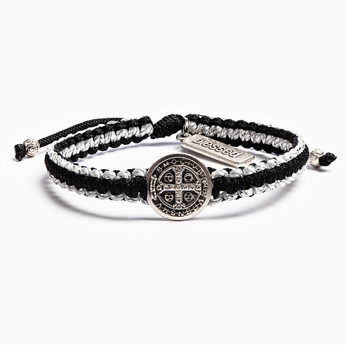 GRATITUDE BRACELET SILVER with BLK and Silver