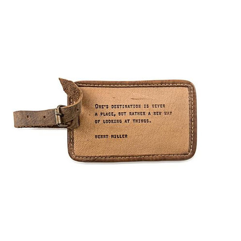 LEATHER LUGGAGE TAG -HENRY MILLER