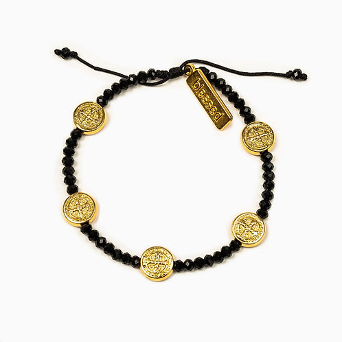 GRATITUDE CRYSTAL BLESSING BRACELET BLACK/GOLD