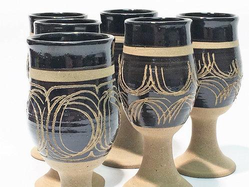 Set of Studio Pottery Goblets Jim Wright