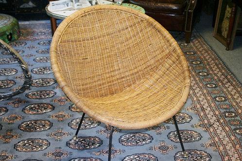 Mid-Century Modern Rattan Patio Scoop Basket Chair