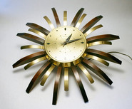 1950s modern United Clock Company Starburst Electric Wall Atomic Wood & Brass